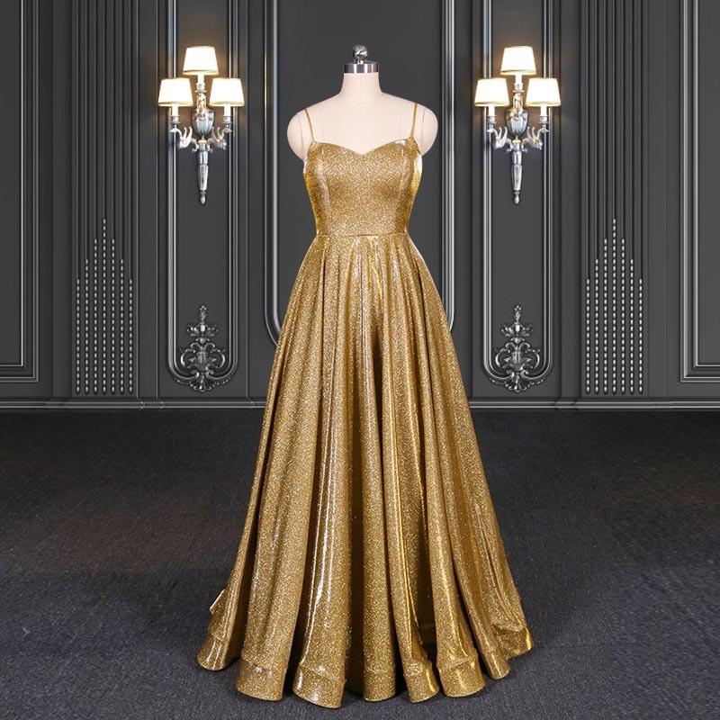 2020 ZZbridal gold glitter bling bling evening dress