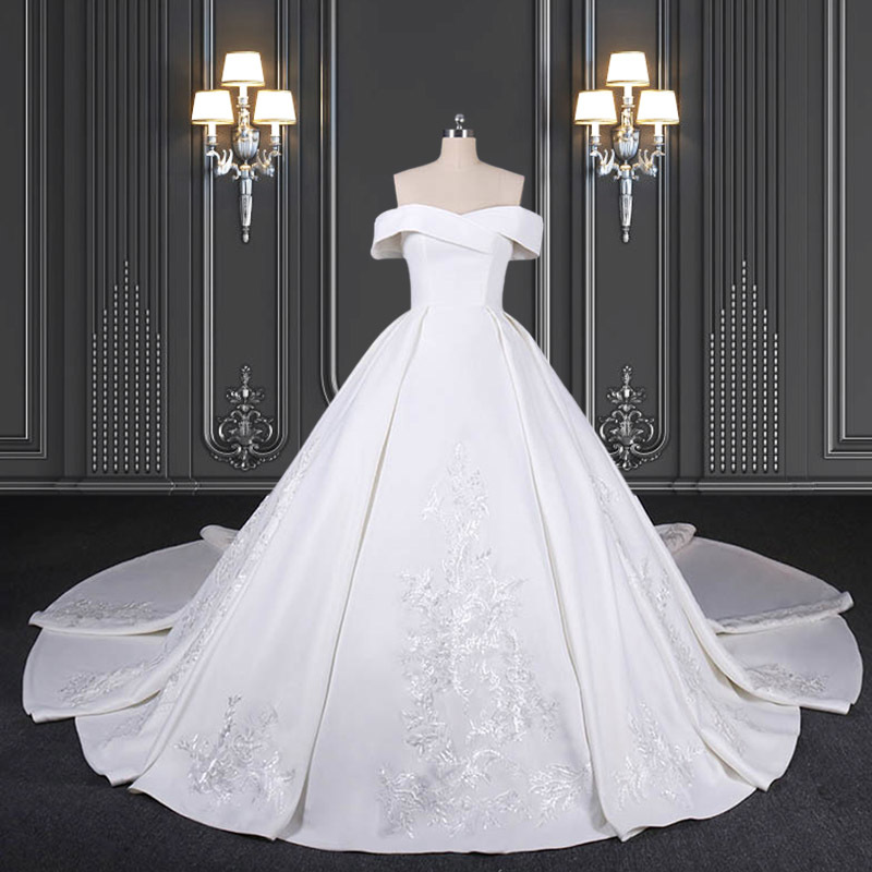 2020 ZZbridal off the shoulder satin ball gown with pleats
