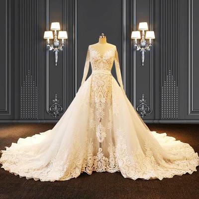 2020 ZZbridal two-pieces mermaid bridal wedding dress with detachable train