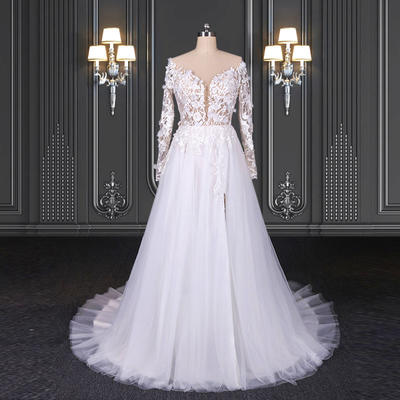 2020 ZZbridal lace bridal dress with long sleeves and slit