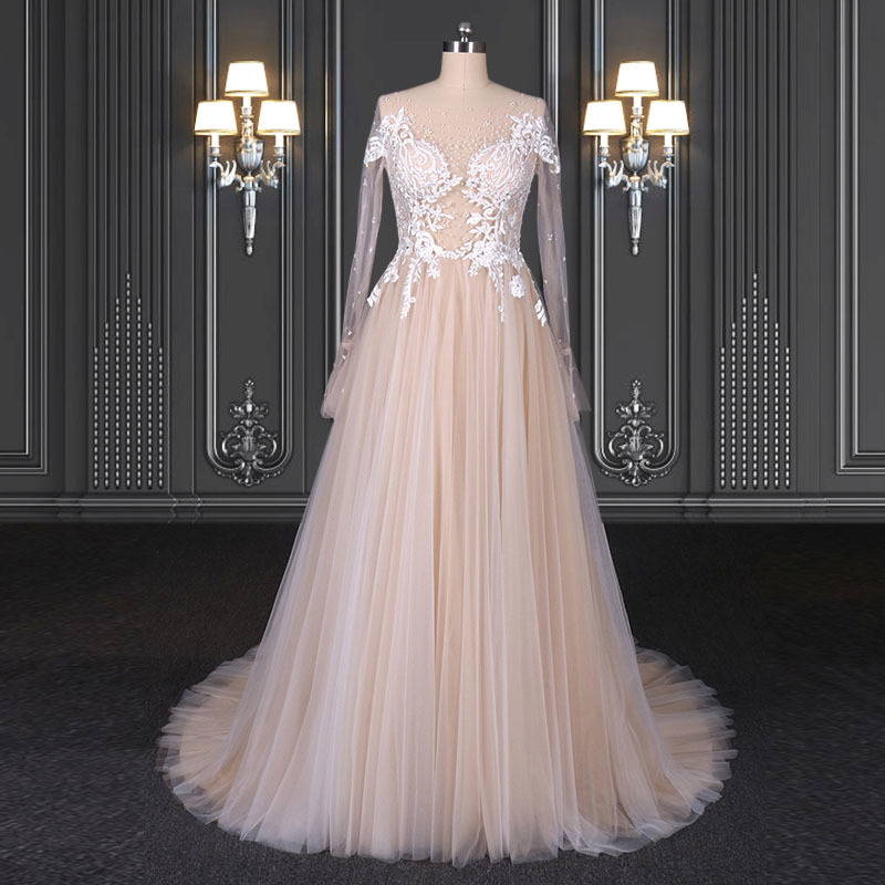 2020 ZZbridal off the shoulder soft pink wedding dress