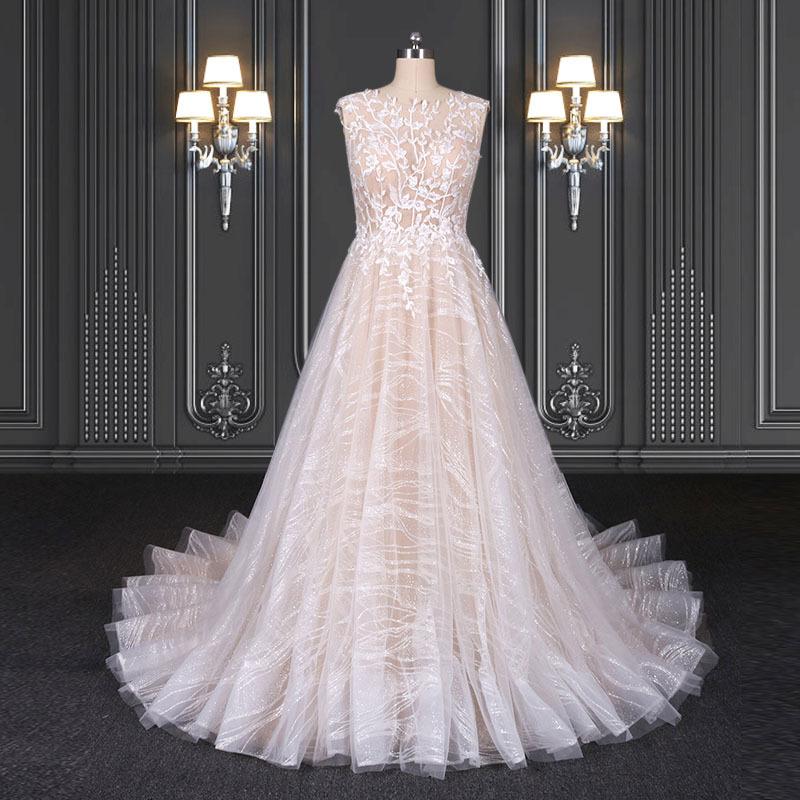 2020 ZZbridal glitter bridal dress with chapel train