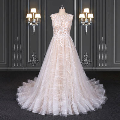 2020 ZZbridal glitter bridal dress with chapel train