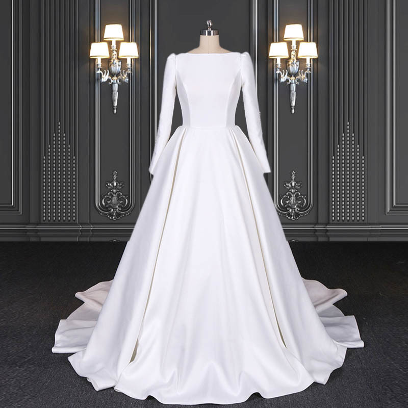 2020 ZZbridal mikado satin gown with Cathedral train