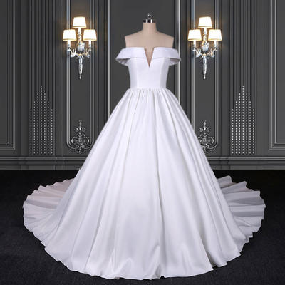 2020 ZZbridal satin ball gown with pockets and Plunge-V neckline