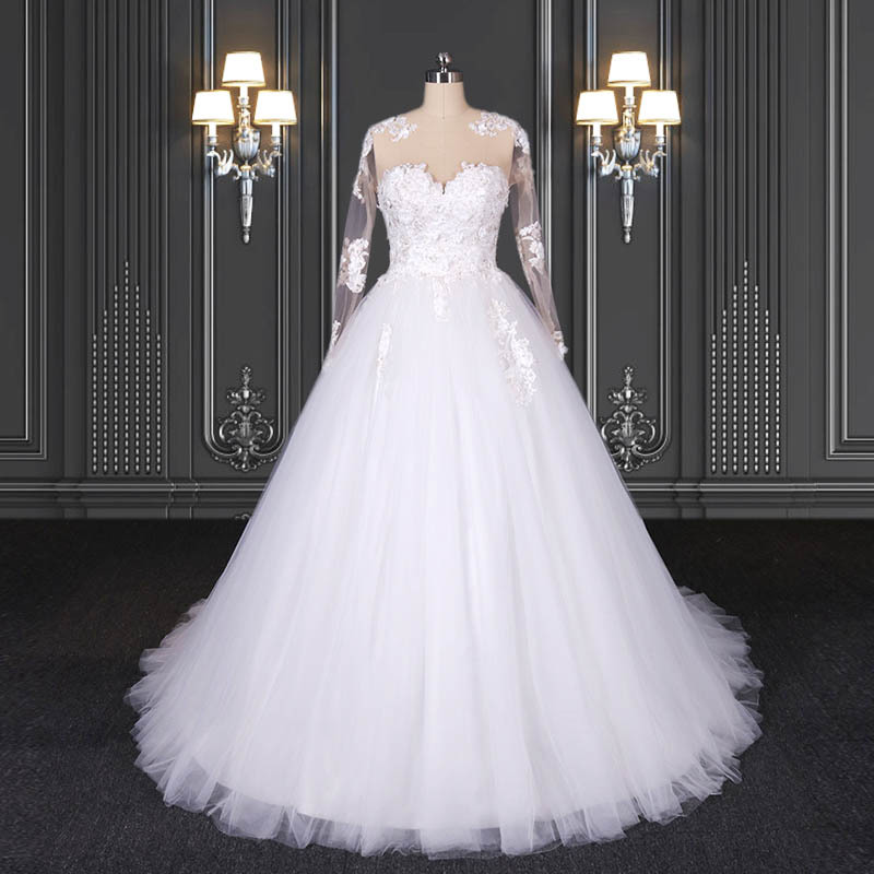 2020 ZZbridal long sleeve modern lace wedding dresses