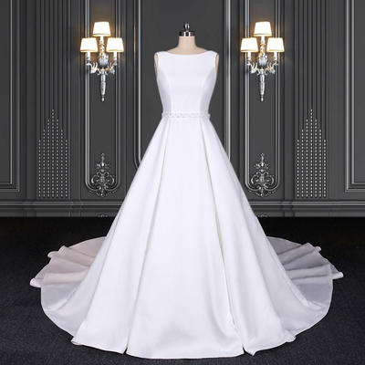 2020 ZZbridal sleeveless satin ball gown with bateau neckline
