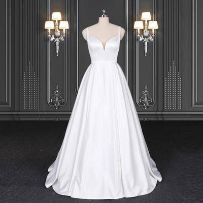 2020 ZZbridal sleeveless satin bridal dress wedding with straps