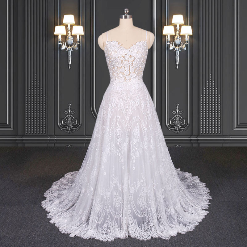 2020 ZZbridal sheer lace wedding dress with spaghetti straps