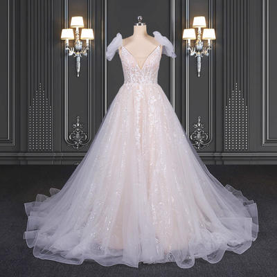 2020 ZZbridal peach glitter lace wedding dress with bows