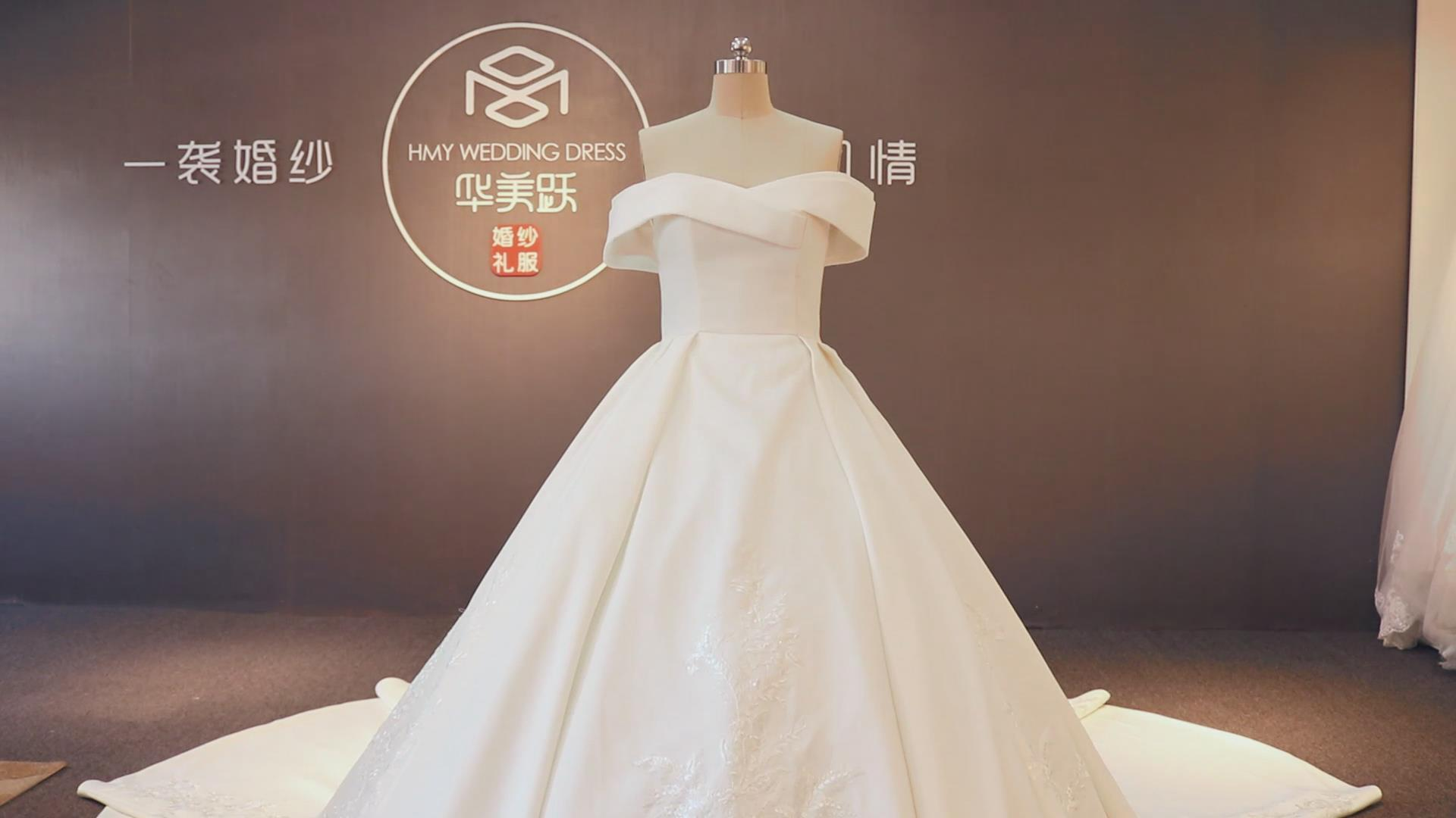 2020 ZZbridal Off Shoulder Satin Ball Gown Lace Wedding Dress