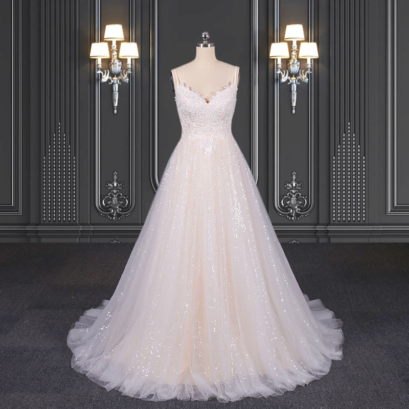 2020 ZZbridal A-line sequin lace bridal dress with spaghetti straps