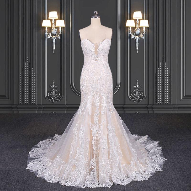 2020 ZZbridal blush mermaid wedding dresses lace bridal dress