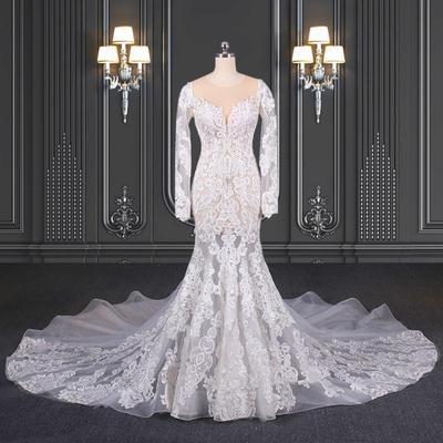 2020 ZZbridal Bohemia lace wedding dress mermaid sheer dress
