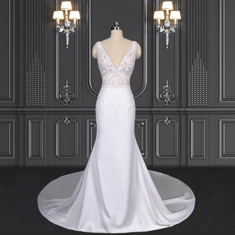2020 ZZbridal plunge neckline boho style lace wedding dress
