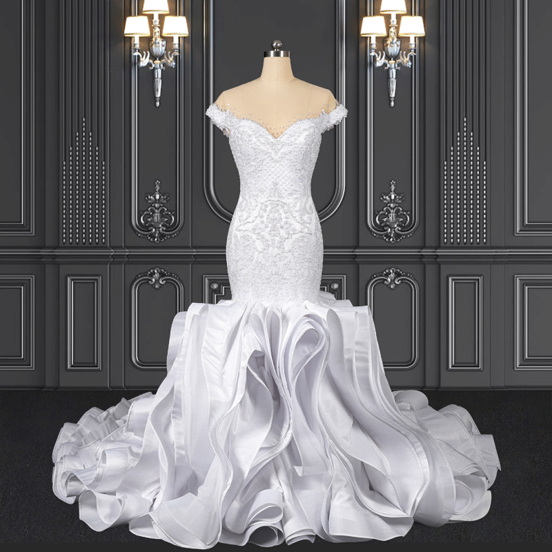 2020 ZZbridal off the shoulder mermaid wedding dress with ruffles skirt