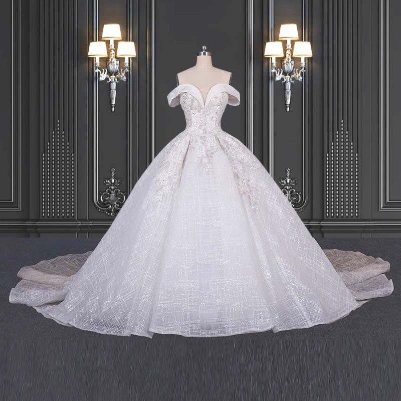 2020 ZZbridal Off The Shoulder Glitter Princess Bridal Dress