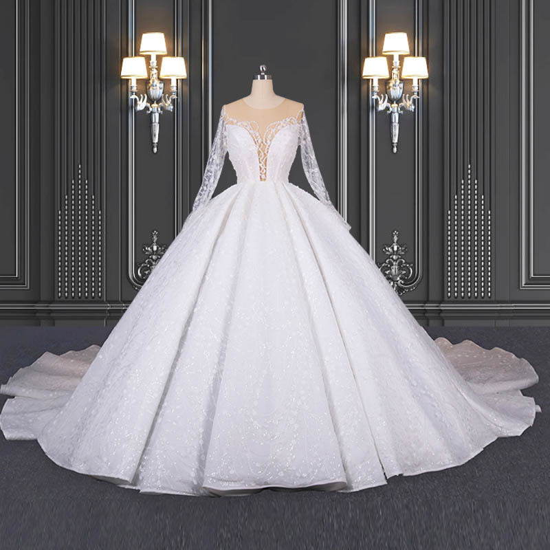 2020 ZZbridal Shiny Princess Lace Wedding Dress With Long Sleeves