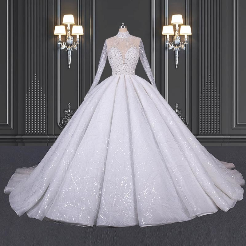 2020 ZZbridal Princess Lace Wedding Dress With High Collar