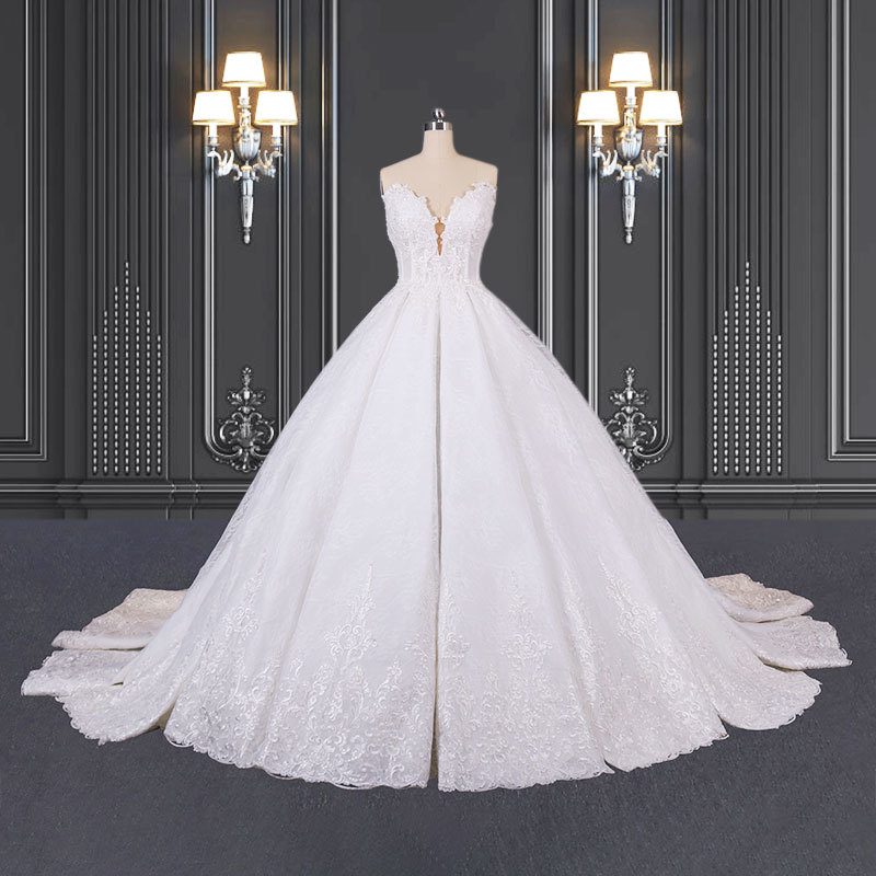 2020 ZZbridal Princess Lace Wedding Dress With Cathedral Train