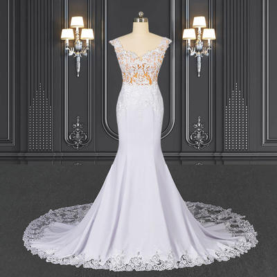 2020 ZZbridal Mermaid Crepe Wedding Dress With Lace