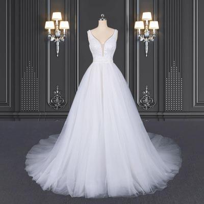 2020 ZZbridal Shiny Wedding Dress With Plunge-V Neckline And Straps