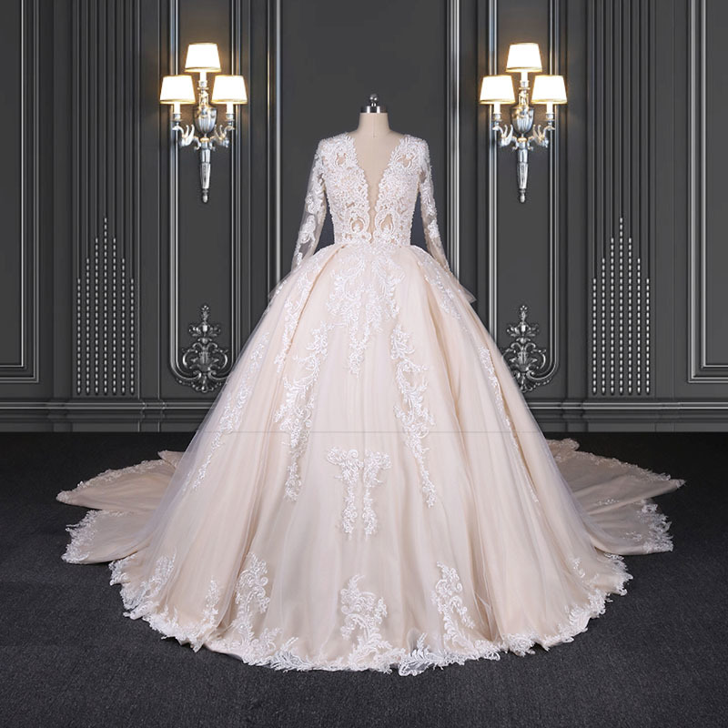 2020 ZZbridal pleated princess bridal gown with plunge-V neckline
