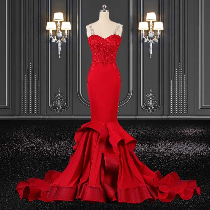 2020 zzbridal mermaid style red jersey evening dress