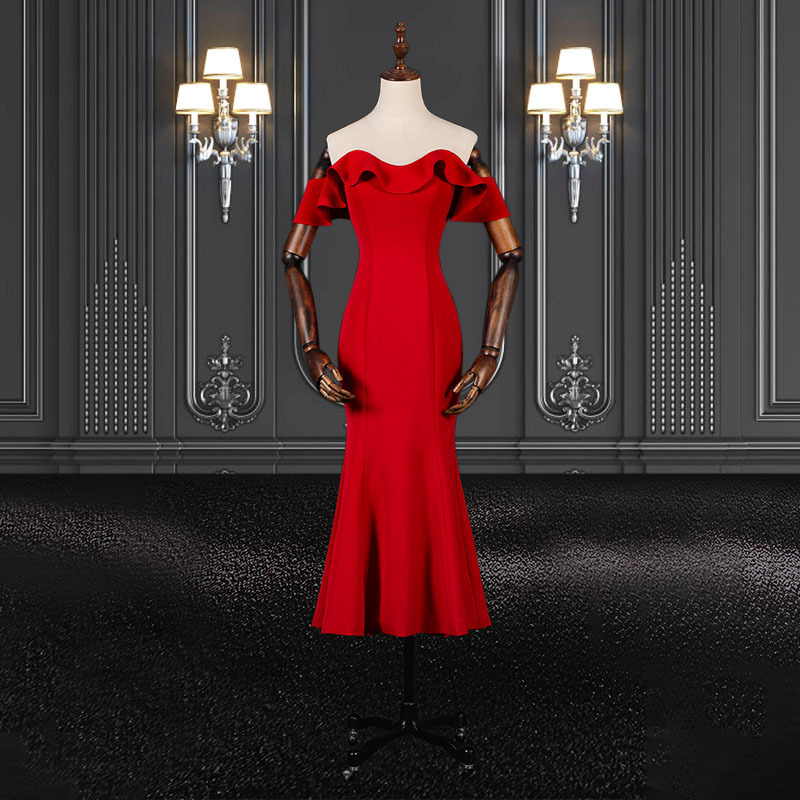 2020 ZZbridal mermaid style red ankle length cocktail dress