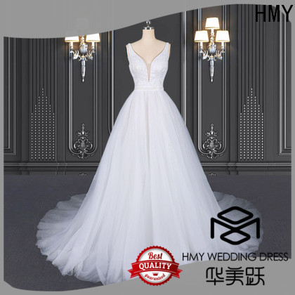 HMY long white wedding dress for business for wedding dress stores