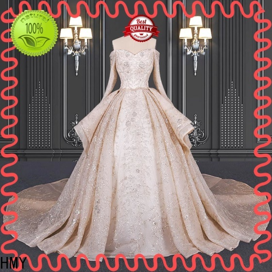HMY Best pretty wedding dresses with sleeves company for brides