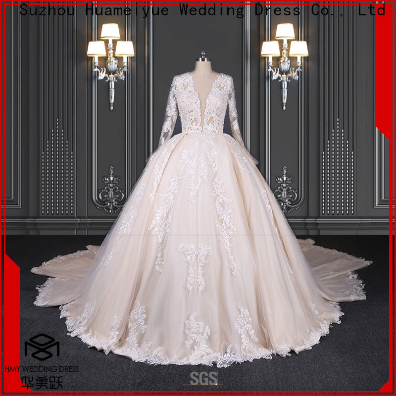 HMY long white wedding dress Supply for boutiques