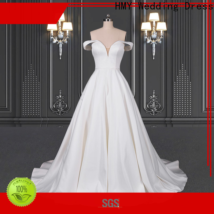 HMY Wholesale white wedding gowns with sleeves company for wedding dress stores